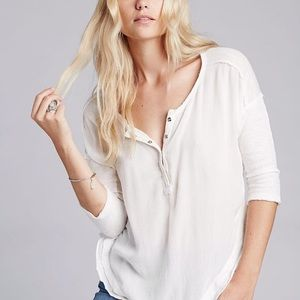 Free People Oversized Henley Tee White 3/4 Sleeves